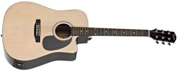 FENDER SQUIER SA-105CE DREADNOUGHT NAT W/FISHMAN PREAMP гитара электро-акустическая с пьезо-звукосни